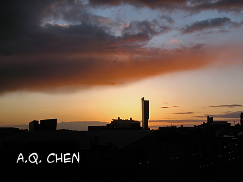 Manchester City Sunset Skyline Photo