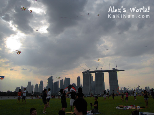 Flying kites at Singapore's Marina Barrage